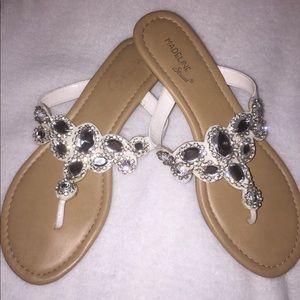 Madeline Stuart Bling White Gem Jeweled Sandals